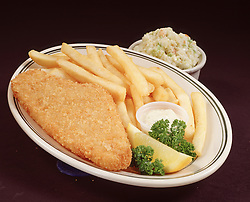 blue plate special fried fish chips french fry fries cole slaw tartar sauce lemon wedge garnish