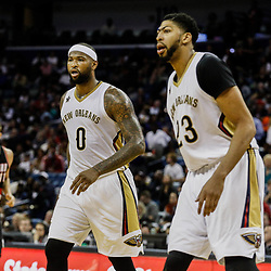 Mar 14, 2017; New Orleans, LA, USA; New Orleans Pelicans forward DeMarcus Cousins (0) and forward Anthony Davis (23) against the Portland Trail Blazers during the second half of a game at the Smoothie King Center. The Pelicans defeated the Trail Blazers 100-77. Mandatory Credit: Derick E. Hingle-USA TODAY Sports