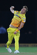 Chris Morris of Chennai Super Kings  during the first semi-final match of the Karbonn Smart Champions League T20 (CLT20) 2013  between The Rajasthan Royals and the Chennai Superkings held at the Sawai Mansingh Stadium in Jaipur on the 4th October 2013<br /> <br /> Photo by Ron Gaunt-CLT20-SPORTZPICS<br /> <br /> Use of this image is subject to the terms and conditions as outlined by the CLT20. These terms can be found by following this link:<br /> <br /> http://sportzpics.photoshelter.com/image/I0000NmDchxxGVv4