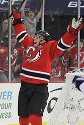 Mar 23; Newark, NJ, USA; New Jersey Devils center Jacob Josefson (16) celebrates his goal against Toronto Maple Leafs goalie James Reimer (34) during the second period at the Prudential Center.