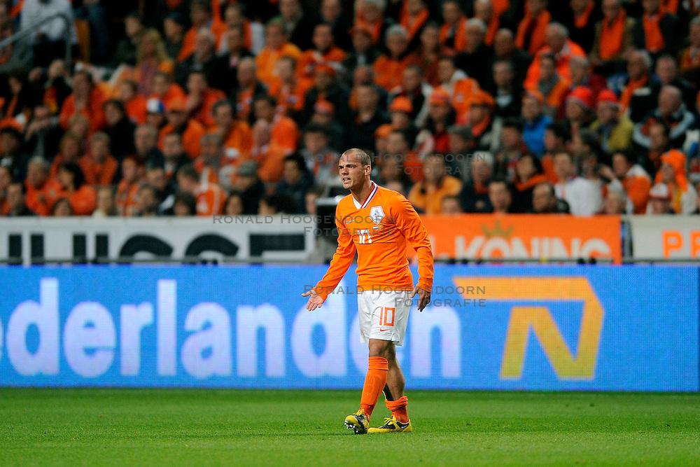 01-04-2009 VOETBAL: WK KWALIFICATIE NEDERLAND - MACEDONIE: AMSTERDAM<br /> Nederland wint met 4-0 van Macedonie / Wesley Sneijder <br /> &copy;2009-WWW.FOTOHOOGENDOORN.NL