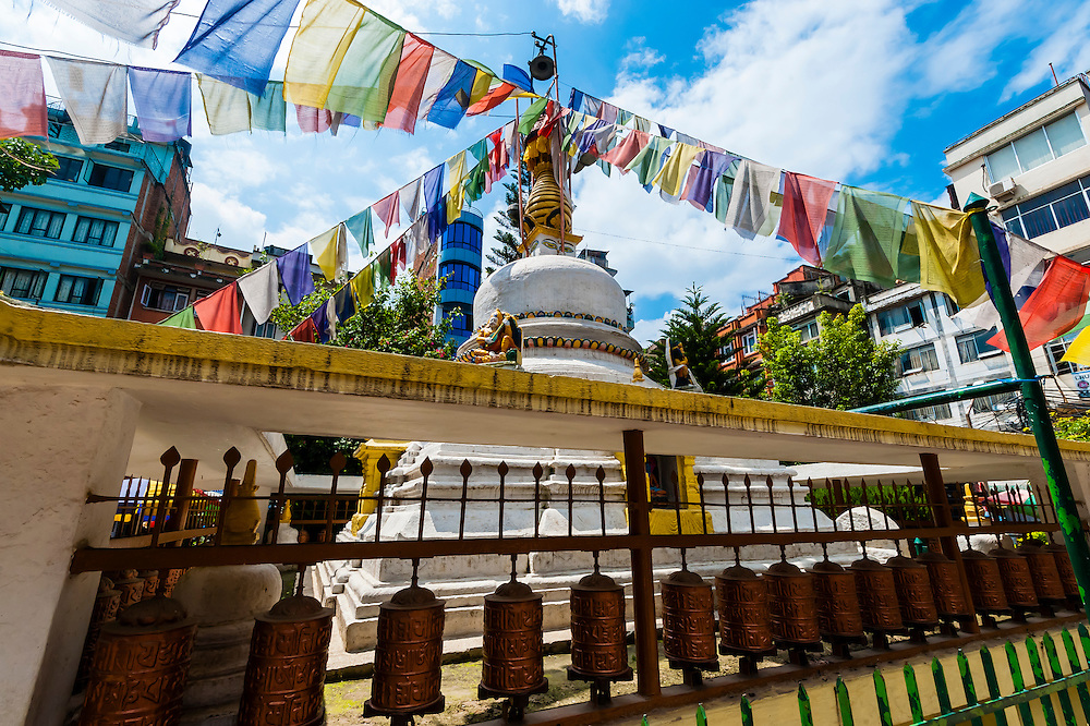 Stupa and prayer flags, Naghal district, Kathmandu, Nepal.