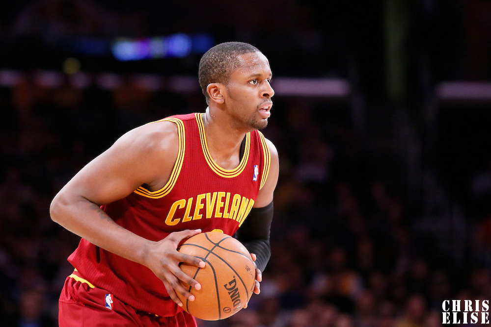 14 January 2014: Cleveland Cavaliers shooting guard C.J. Miles (0) looks to pass the ball during the Cleveland Cavaliers 120-118 victory over the Los Angeles Lakers at the Staples Center, Los Angeles, California, USA.