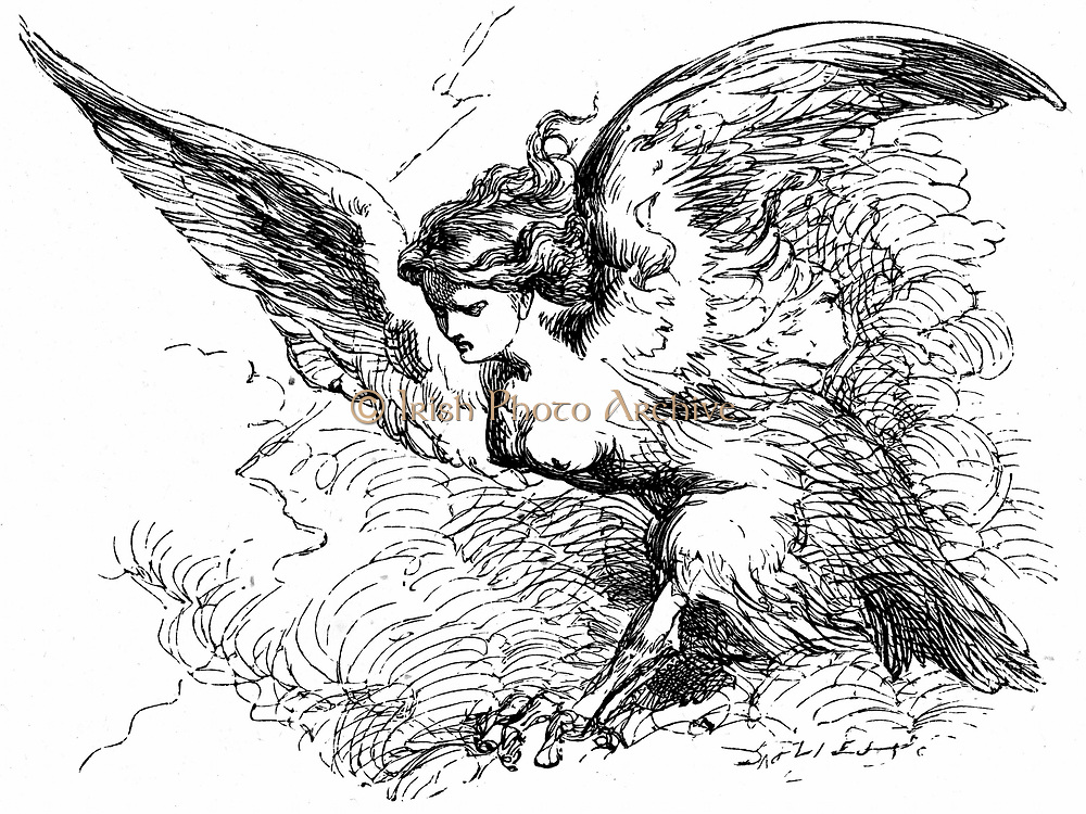 Ariel, in the guise of a Harpy, about to clap his wings and make the magic banquet Prospero has shown to Alonso and his party disappear. Act III Sc. III. Illustration for 'The Tempest' for an edition of Shakespeare's Works published 1856-1858. Engraving