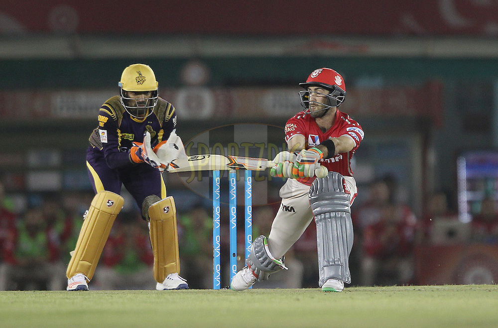 Glenn Maxwell of Kings XI Punjab mis-times the sweep during match 13 of the Vivo Indian Premier League ( IPL ) 2016 between the Kings XI Punjab and the Kolkata Knight Riders held at the IS Bindra Stadium, Mohali, India on the 19th April 2016<br /> <br /> Photo by Ron Gaunt / IPL/ SPORTZPICS