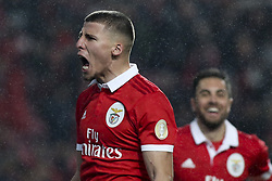 February 3, 2018 - Lisbon, Portugal - Benfica's defender Ruben Dias celebrates after scoring during the Portuguese League  football match between SL Benfica and Rio Ave FC at Luz  Stadium in Lisbon on February 3, 2018. (Credit Image: © Carlos Costa/NurPhoto via ZUMA Press)