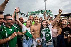 Stefan Savic of NK Olimpija and supporters of Olimpija celebrate after they became Slovenian National Champion 2018 after the football match between NK Domzale and NK Olimpija Ljubljana in 36th Round of Prva liga Telekom Slovenije 2017/18, on May 27, 2018 in Sports park Domzale, Domzale, Slovenia. Photo by Vid Ponikvar / Sportida