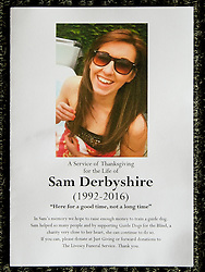 © Licensed to London News Pictures . 15/07/2016 . Bolton , UK . Order of service . The funeral of Special Constable Samantha Derbyshire at St Mary's RC Church in Horwich , Bolton. Derbyshire was struck and killed by an HGV on the M61 motorway following a collision , in the early hours of Monday 11th July 2016 . Photo credit : Joel Goodman/LNP