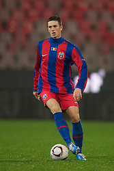 BUCHAREST, ROMANIA - Thursday, December 2, 2010: FC Steaua Bucuresti's Florin Gardos in action against Liverpool during the UEFA Europa League Group K match at the Stadionul Steaua. (Pic by: David Rawcliffe/Propaganda)