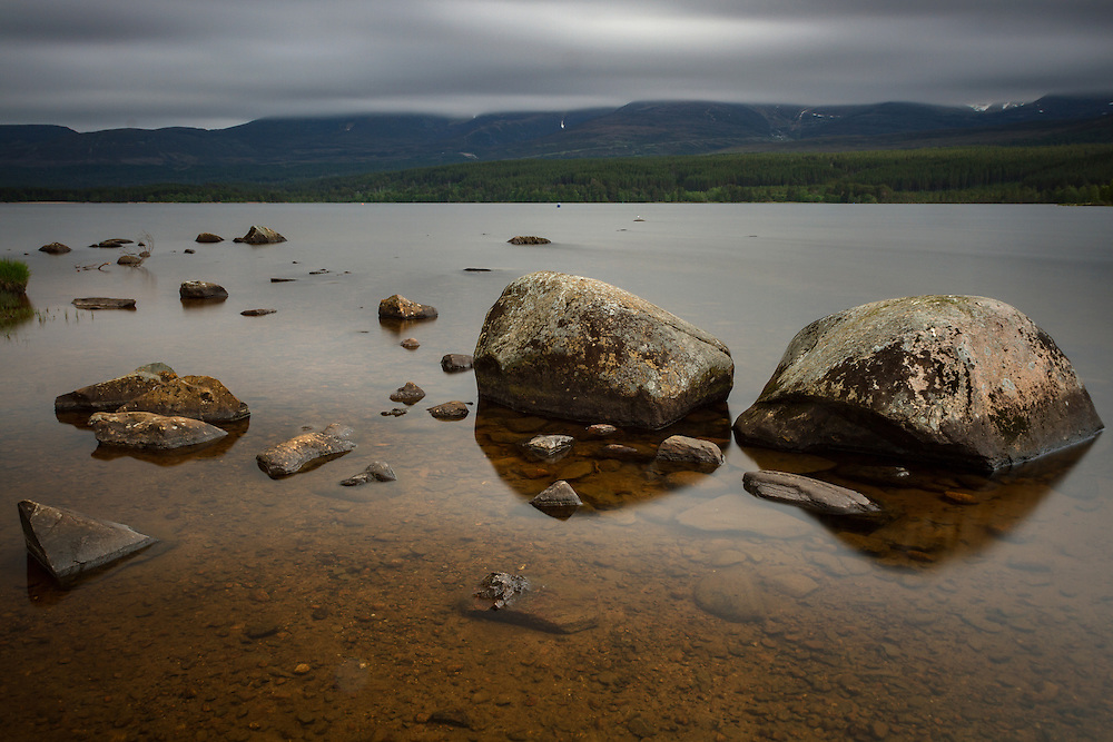 Late afternoon over Loch Morlich in the Cairngorm national park, Scotland