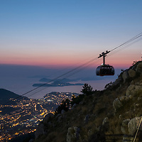 View from the top of Mount Srd and the cable car station above Dubrovnik on the Dalmatian Coast in Croatia.