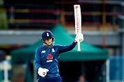 England ODI batsman Joe Root celebrates his half century and 50 during the 3rd Royal London ODI match between England and India at Headingley Stadium, Headingley, United Kingdom on 17 July 2018. Picture by Simon Davies.
