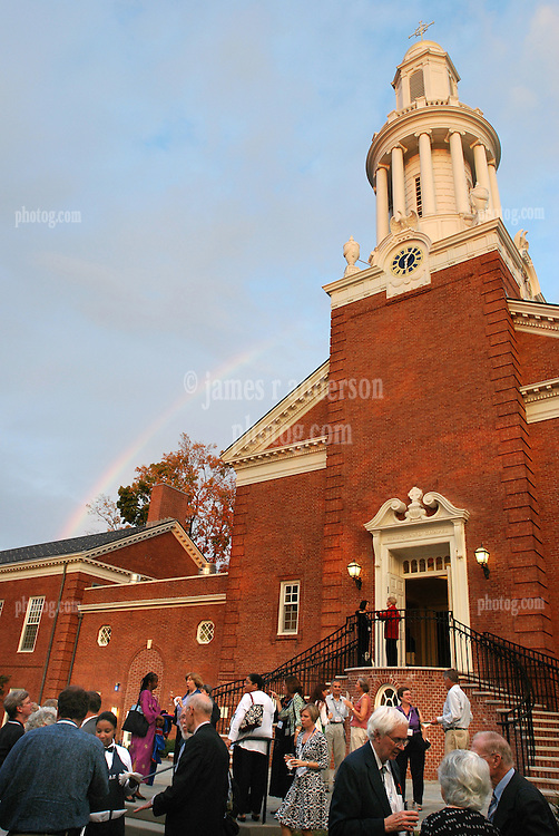 Rainbow over Marquand Chapel at Yale Divinity School, Sterling Memorial Quad, Yale University, New Haven, CT. Taken during Convocation and Reunion Reception 2007.