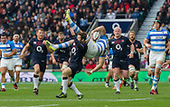 Elliot Daly has a moment tackling Leonardo Senatore that leads to a red card, England v Argentina in an Old Mutual Wealth Series, Autumn International match at Twickenham Stadium, London, England, on 26th November 2016. Full Time score 27-14