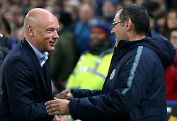 Malmo head coach Uwe Rosler (left) and Chelsea manager Maurizio Sarri shake hands prior to kick-off