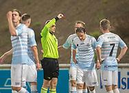 Frederik Bay (FC Helsingør) udvises af dommer Frederik Lysemose Hoffmann under kampen i 2. Division mellem FC Helsingør og Boldklubben Frem den 27. september 2019 på Helsingør Ny Stadion (Foto: Claus Birch).