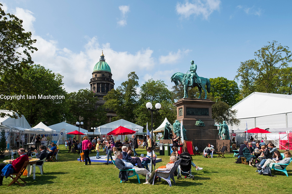 Edinburgh, Scotland, UK; 15 August, 2018. Pictured; View of visitors to book festival in Charlotte Square, Edinburgh.