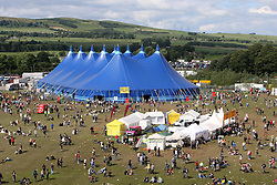 King Tut's Wah Wah Tent, as seen from the ferris wheel, T in the Park, Sunday 8 July 2007..T in the Park festival took place on the 6th, 7th and 8 July 2007, at Balado, near Kinross in Perth and Kinross, Scotland. This was the first time the festival had been held over three days..Pic ©Michael Schofield. All Rights Reserved..
