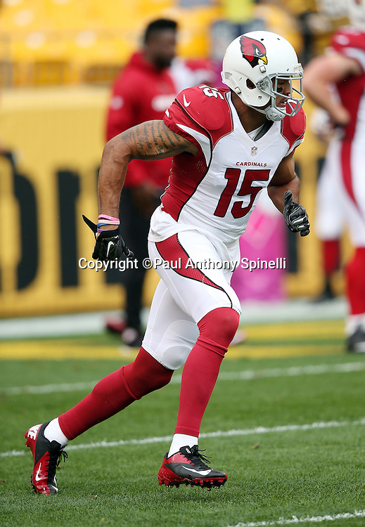 Arizona Cardinals wide receiver Michael Floyd (15) goes out for a pregame pass while warming up before the 2015 NFL week 6 regular season football game against the Pittsburgh Steelers on Sunday, Oct. 18, 2015 in Pittsburgh. The Steelers won the game 25-13. (©Paul Anthony Spinelli)