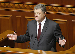 September 6, 2016 - Kiev, Ukraine - Ukrainian President Petro Poroshenko speaks to lawmakers during his annual address,at the opening of a new session of the Ukrainian Parliament, in Kiev, Ukraine, 06 September,2016. (Credit Image: © Str/NurPhoto via ZUMA Press)