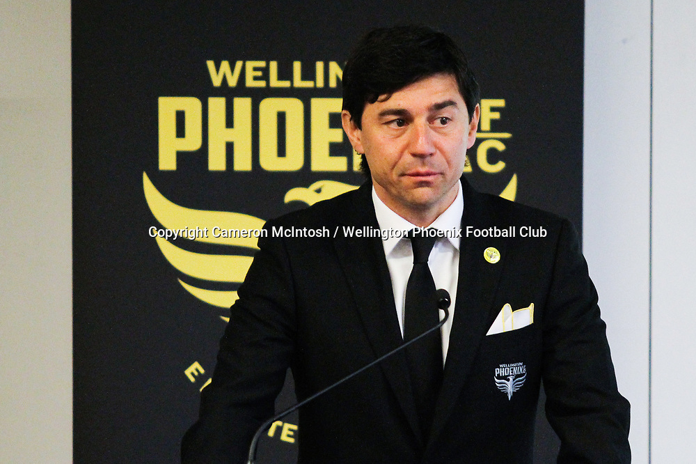 Wellington Phoenix Coach Darije Kalezic speaks at the dawn ceremony for the new logo unveiling of the Wellington Phoenix Football Club at The Wharewhaka Function Centre in Wellington, New Zealand on 10 August 2017.<br /> Copyright photo: Cameron McIntosh / www.photosport.nz