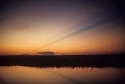 Africa, Democratic Republic of the Congo, Ngiri River area, sunset over Ngiri river, tributary of Ubangi River.