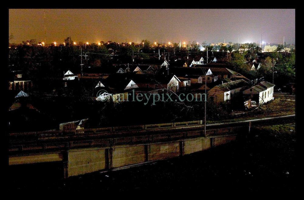20th October, 2005. After Hurricane Katrine, New Orleans, Louisiana. Away from the French Quarter where there is no electricity and few, if any lights. The ghostly remains of New Orleans Gentilly neighbourhood to the east of the city lies in ruins and darkness.
