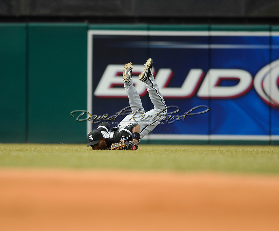 Alexei Ramirez makes a diving catch.<br /> The Cleveland Indians defeated the Chicago White Sox Monday, March 31 at Progressive Field in Cleveland. The Indians defeated the White Sox 10-8.