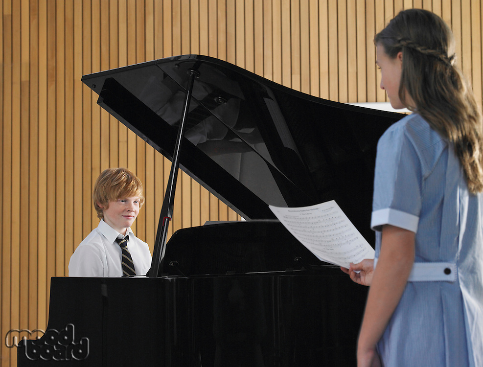 Two High School Students in Music Class