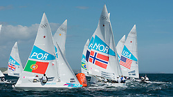 2012 Olympic Games London / Weymouth<br /> <br /> Star practice race<br /> Fleet rounding the weather mark during the practice race