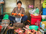 01 JUNE 2016 - SIEM REAP, CAMBODIA: A woman sells fresh fish in the Siem Reap market. There are growing concerns that spot food shortages, especially of fish, the Cambodians main source of protein, could become worse if the coming rainy season doesn't bring relief from the drought that has gripped Cambodia for the last two years.          PHOTO BY JACK KURTZ
