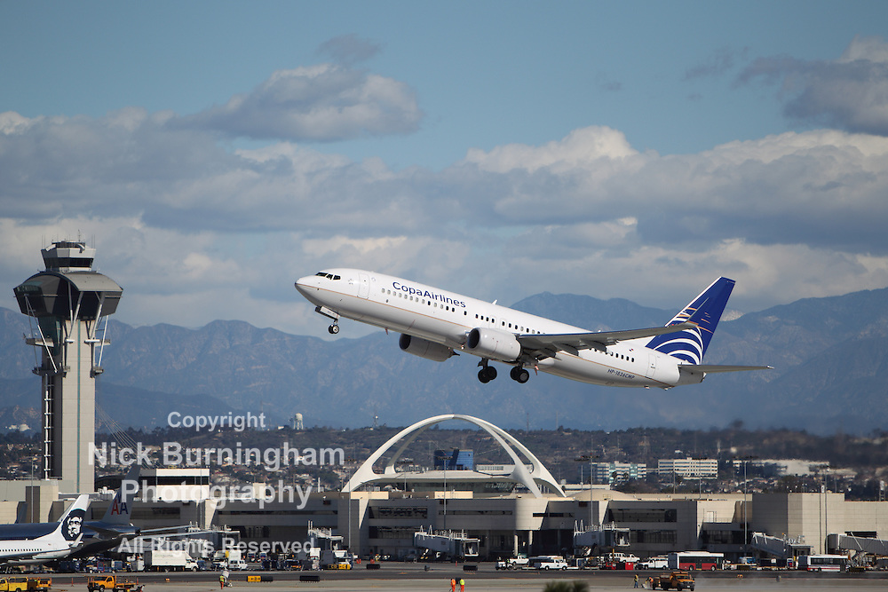LOS ANGELES, CALIFORNIA, USA - JANUARY 28, 2013 - Copa Airlines Boeing 737-86N takes off from Los Angeles Airport on January 28, 2013. The plane seats 126 passengers with a range of 10,200 km