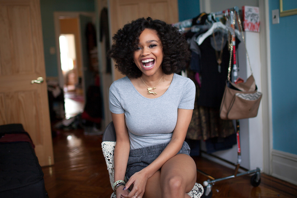 Tanisha Long at her home in Queens, NY.  One of the perks of being a rising star on a popular MTV show is that she gets free clothes, both from designers and from the Girl Code set.  Her roommate recently moved out and she is turning the spare room into her office and dressing room.