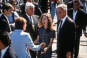 President Bill Clinton and daughter Chelsea react when greeting a friend during a campaign stop for his re-election in Ashland, KY.