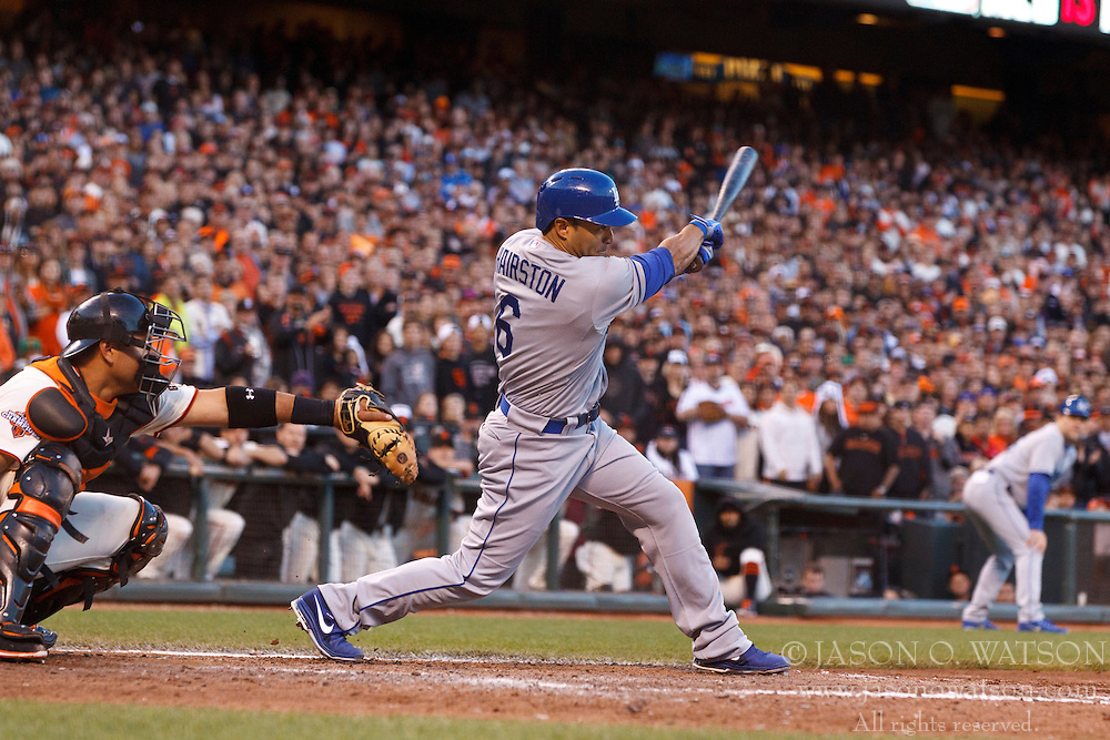 SAN FRANCISCO, CA - MAY 05: Jerry Hairston Jr. #6 of the Los Angeles Dodgers at bat against the San Francisco Giants during the eighth inning at AT&T Park on May 5, 2013 in San Francisco, California. The San Francisco Giants defeated the Los Angeles Dodgers 4-3. (Photo by Jason O. Watson/Getty Images) *** Local Caption *** Jerry Hairston Jr.