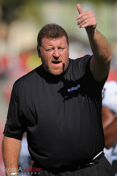 Tampa, Fl: Dec 28, 2008 -- Oakland Raiders coach Tom Cable prior to the Raiders game against the Tampa Bay Buccaneers at Raymond James Stadium....©2008 Scott A. Miller