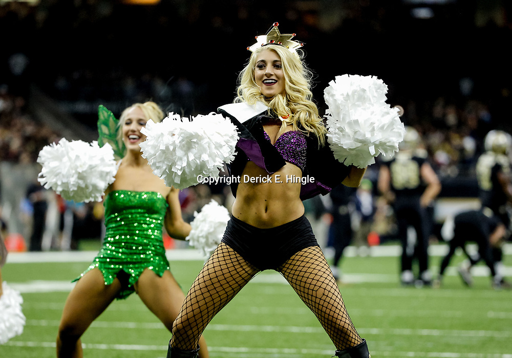 Oct 29, 2017; New Orleans, LA, USA; New Orleans Saints Saintsations dress in Halloween costume during the second half of a game against the Chicago Bears at the Mercedes-Benz Superdome. The Saints defeated the Bears 20-12. Mandatory Credit: Derick E. Hingle-USA TODAY Sports