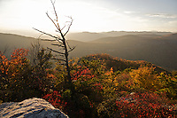 Fall colors adorn the southern end of Table Rock Mountain in the Pisgah Nat'l Forest of North Carolina. Little Table Rock and the Linville Gorge can be seen in the background.