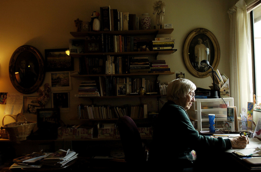 Cleta Brooks Lee works on her writing in her apartment at the Jason Lee Manor. She has self-published three books and is currently working on her fourth.