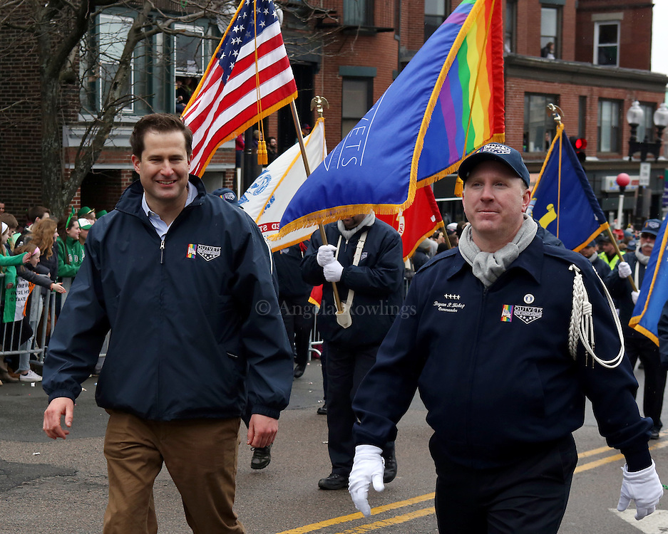 (Boston, MA - 3/15/15) Rep. Seth Moulton, left, and Bryan Bishop, founder & CEO of OutVets [not sure of style] march in the St. Patrick's Day Parade in South Boston, Sunday, March 15, 2015. Staff photo by Angela Rowlings.