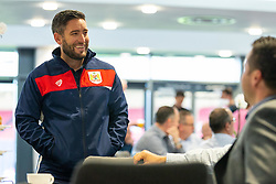 Bristol City manager Lee Johnson talks with guests - Ryan Hiscott/JMP - 21/06/18 - Ashton Gate Stadium - Bristol, England - Bristol City 2018-19 Fixtures Release Day and Q&A Session
