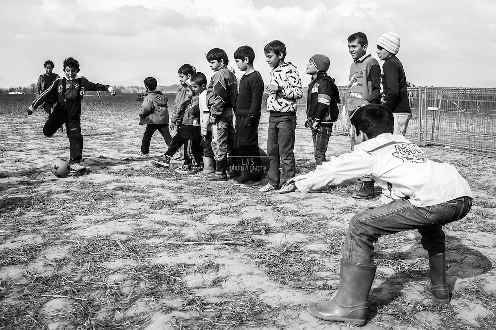 A group of children is playing soccer. <br />