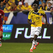 Adrian Ramos, Colombia, in action during the Columbia Vs Canada friendly international football match at Red Bull Arena, Harrison, New Jersey. USA. 14th October 2014. Photo Tim Clayton