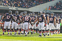 25 November 2012: Linebacker (55) Lance Briggs of the Chicago Bears enters the field during player introductions before playing against the Minnesota Vikings before the Bears 28-10 victory over the Vikings in an NFL football game at Soldier Field in Chicago, IL.