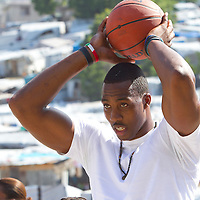 Dwight Howard in Haiti after the 2010 earthquake for the D12 Foundation relief fund.