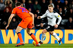 Martyn Waghorn of Derby County takes on Murray Wallace of Millwall - Mandatory by-line: Robbie Stephenson/JMP - 20/02/2019 - FOOTBALL - Pride Park Stadium - Derby, England - Derby County v Millwall - Sky Bet Championship