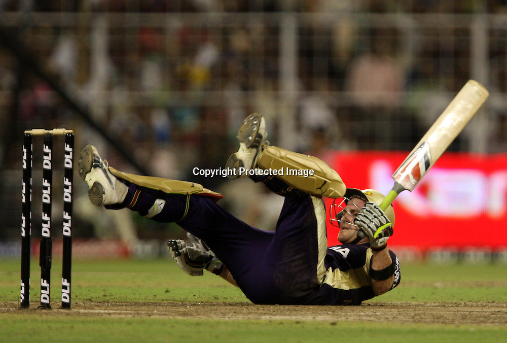 Kolkata Knight Riders Brendon McCullum Silip During The  Indian Premier League - 56th match Twenty20 match | 2009/10 season Played at Eden Gardens, Kolkata 19 April 2010 - day/night (20-over match)