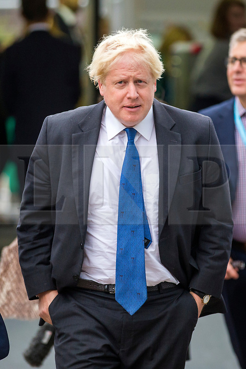 © Licensed to London News Pictures. 02/10/2018. Birmingham, UK. Boris Johnson arriving today at the Conservative party conference being held at the International Convention Centre in Birmingham. Photo credit: Andrew McCaren/LNP