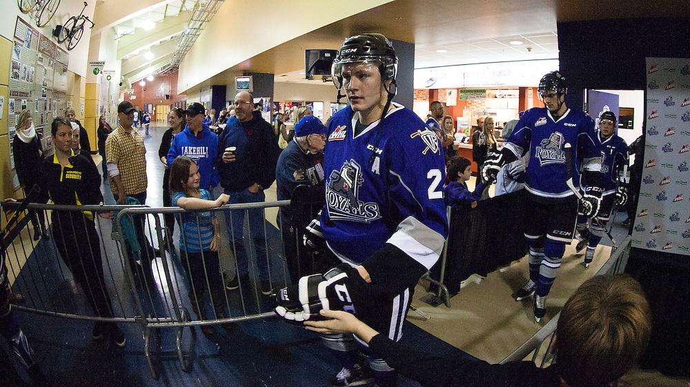 VICTORIA B.C. - NOVEMBER 1:  The Victoria Royals and Tri-City Americans of the Western Hockey League square off at the Save-On-Foods Memorial Centre during Turn back the Clock night on November 1st, 2014 in Victoria, British Columbia, Canada. (Photo by Kevin Light/Victoria Royals)