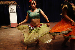 June 25, 2017 - Kathmandu, Nepal - Nepalese transgender perform a traditional dance on a stage during a cultural dance program in Kathmandu, Nepal on Sunday, June 25, 2017. (Credit Image: © Skanda Gautam via ZUMA Wire)